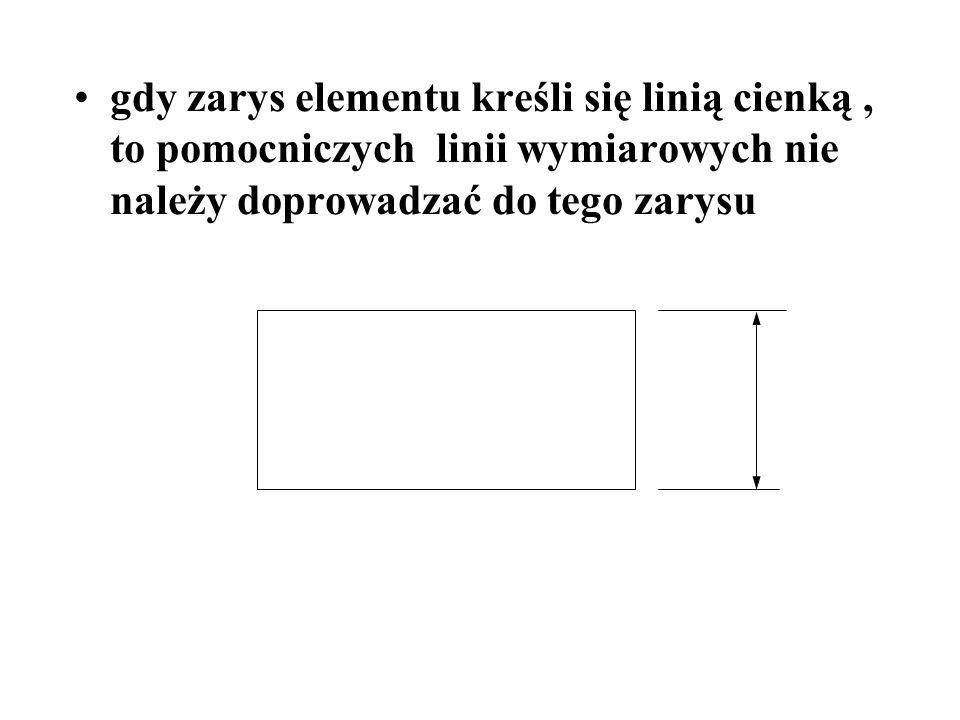 gdy zarys elementu kreśli się linią cienką, to pomocniczych linii wymiarowych nie należy doprowadzać do tego zarysu