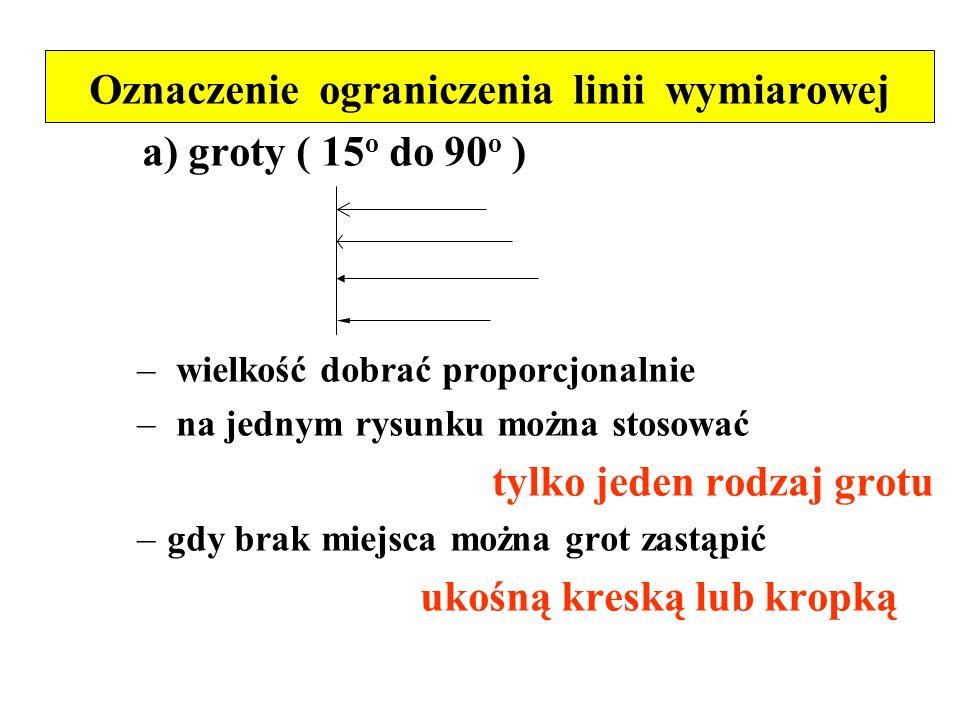 Oznaczenie ograniczenia linii wymiarowej a) groty ( 15 o do 90 o ) – wielkość dobrać proporcjonalnie – na jednym rysunku można stosować tylko jeden ro