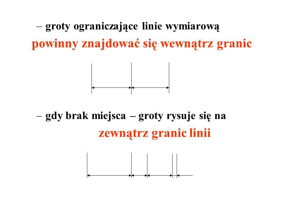 –groty ograniczające linie wymiarową powinny znajdować się wewnątrz granic –gdy brak miejsca – groty rysuje się na zewnątrz granic linii