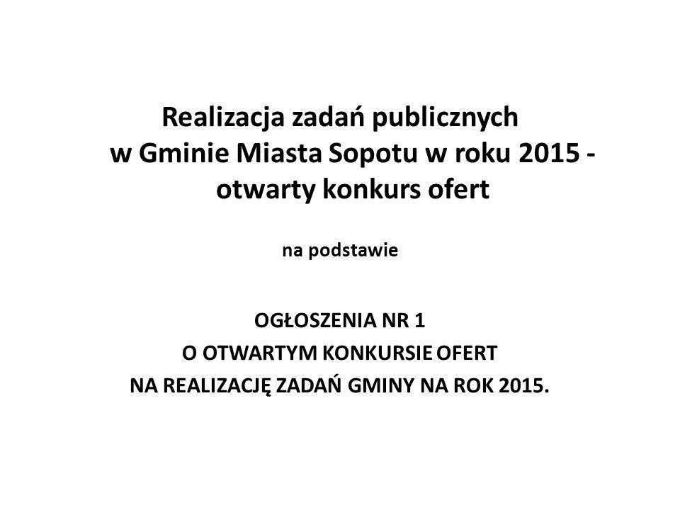 Realizacja zadań publicznych w Gminie Miasta Sopotu w roku 2015 - otwarty konkurs ofert na podstawie OGŁOSZENIA NR 1 O OTWARTYM KONKURSIE OFERT NA REALIZACJĘ ZADAŃ GMINY NA ROK 2015.