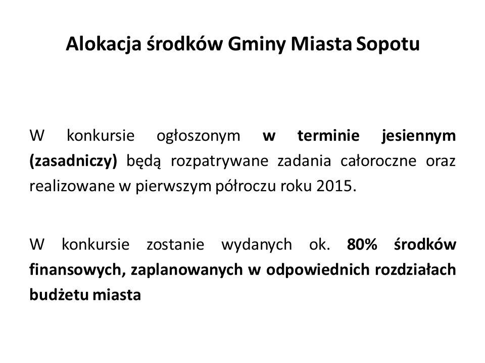Alokacja środków Gminy Miasta Sopotu W konkursie ogłoszonym w terminie jesiennym (zasadniczy) będą rozpatrywane zadania całoroczne oraz realizowane w pierwszym półroczu roku 2015.