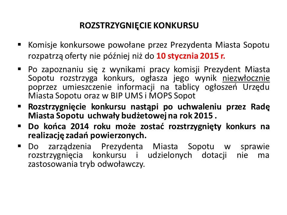 ROZSTRZYGNIĘCIE KONKURSU  Komisje konkursowe powołane przez Prezydenta Miasta Sopotu rozpatrzą oferty nie później niż do 10 stycznia 2015 r.