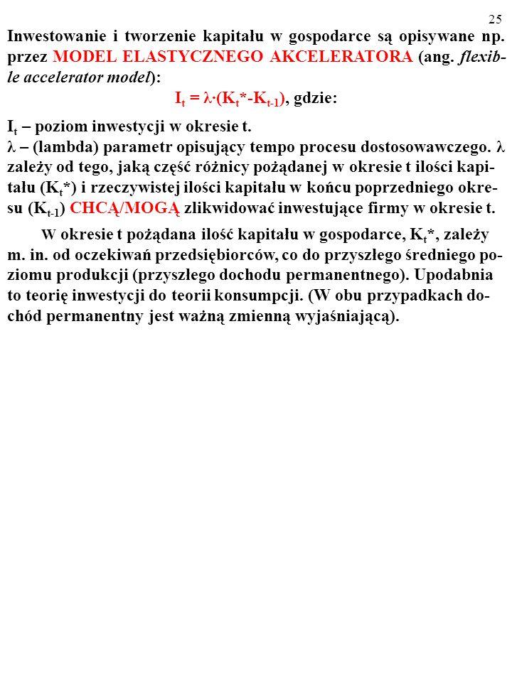 24 Po pewnym czasie* zwiększony strumień inwestycji, I 1 > I 0, skutkuje powstaniem w firmach pożądanego zasobu kapitału K 1 (K 1 >K 0 ). Ce- na kapit