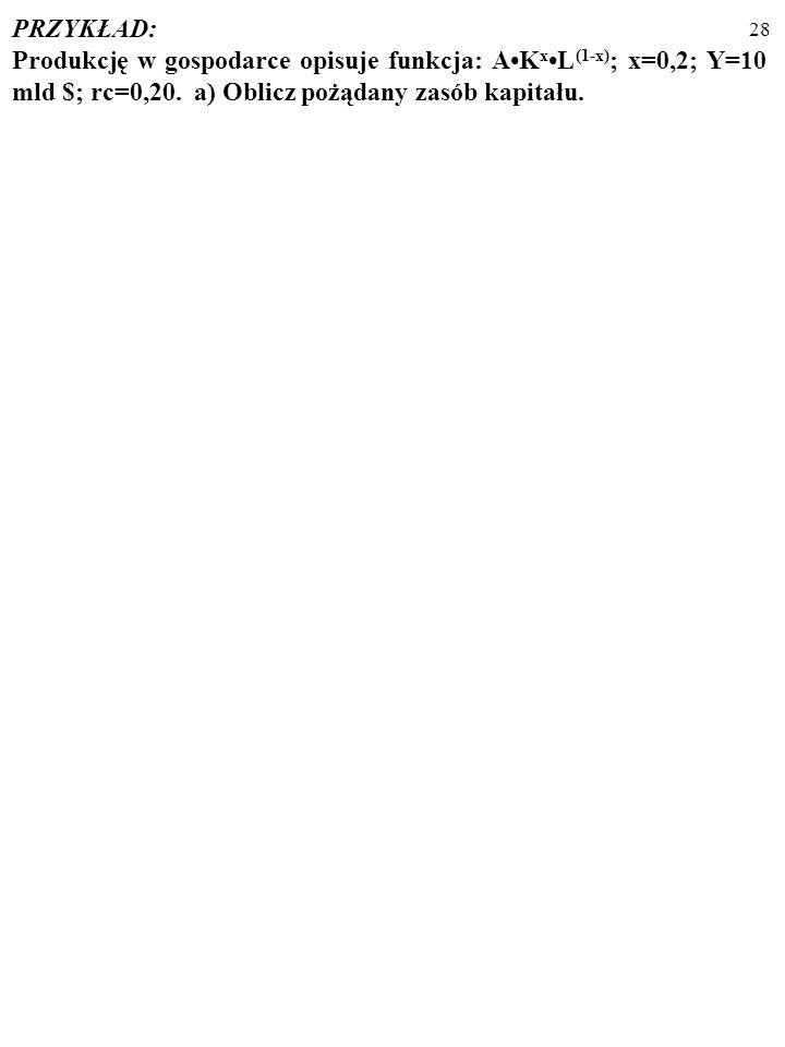 27 MODEL ELASTYCZNEGO AKCELERATORA: I t = λ·(K t *-K t-1 ), gdzie: 1. Parametr λ opisuje możliwości i plany firm (tempo tworzenia przez nie nowego kap