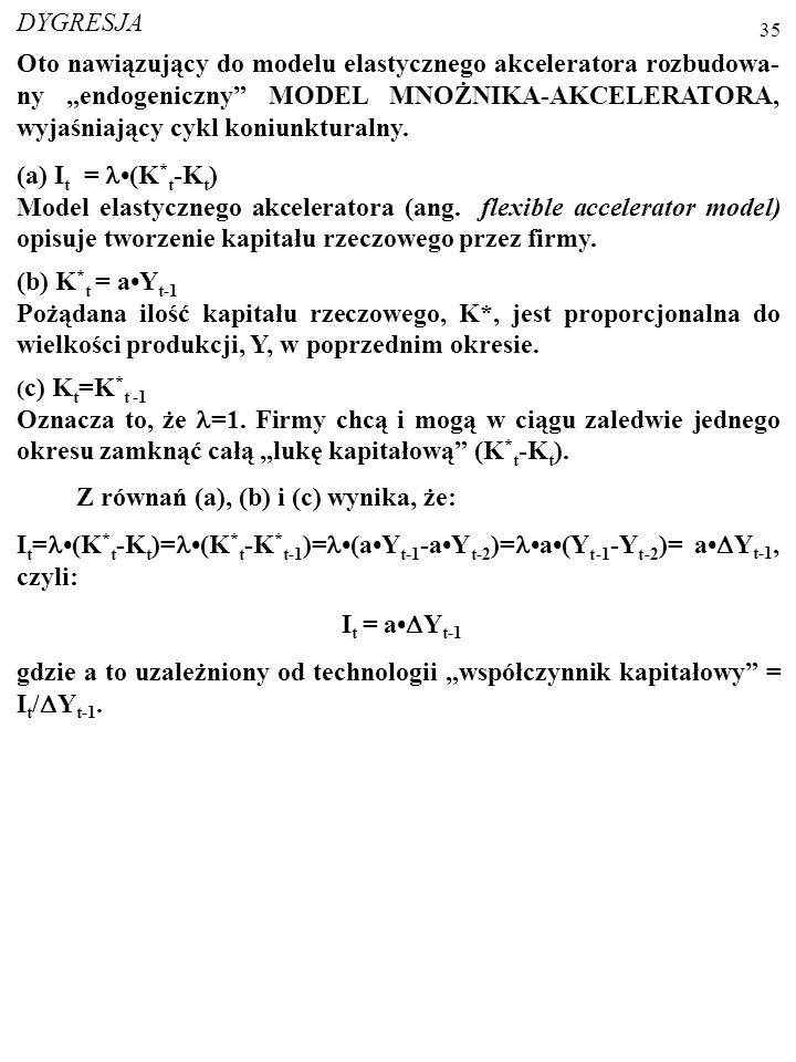 34 PRZYKŁAD: Produkcję w gospodarce opisuje funkcja: AK xL (1-x) ; x=0,2; Y=10 mld $; rc=0,20. a) Oblicz pożądany zasób kapitału. K*=xY/rc=0,210,0/0,2