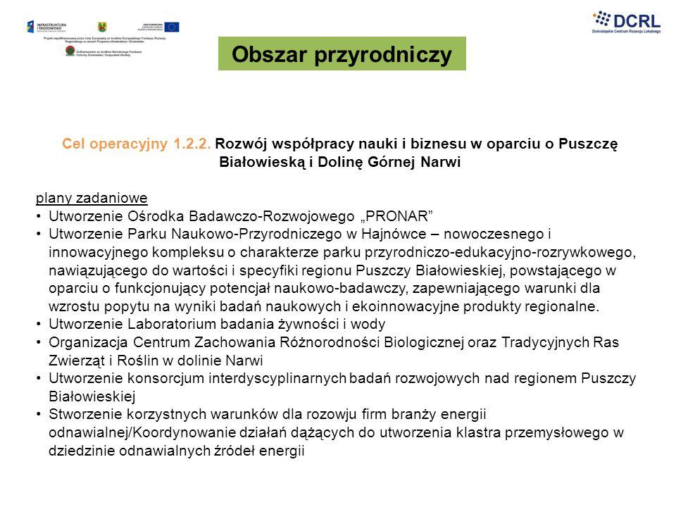 Obszar przyrodniczy Cel operacyjny 1.2.2. Rozwój współpracy nauki i biznesu w oparciu o Puszczę Białowieską i Dolinę Górnej Narwi plany zadaniowe Utwo