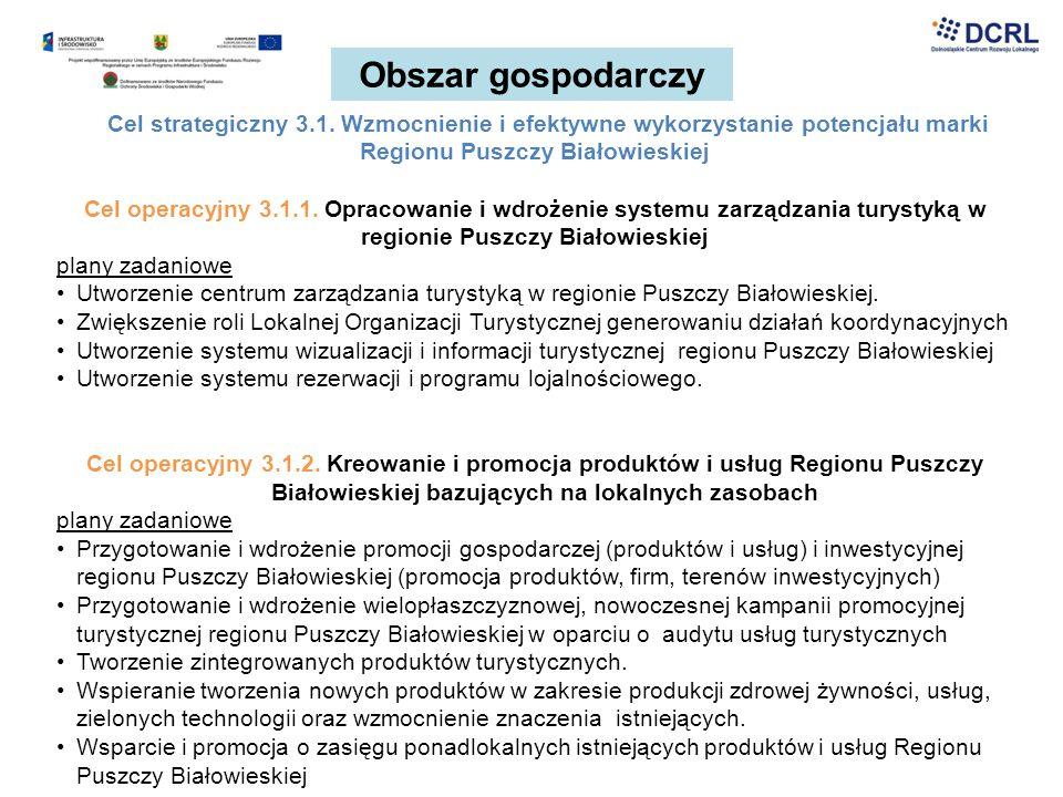 Obszar gospodarczy Cel strategiczny 3.1. Wzmocnienie i efektywne wykorzystanie potencjału marki Regionu Puszczy Białowieskiej Cel operacyjny 3.1.1. Op