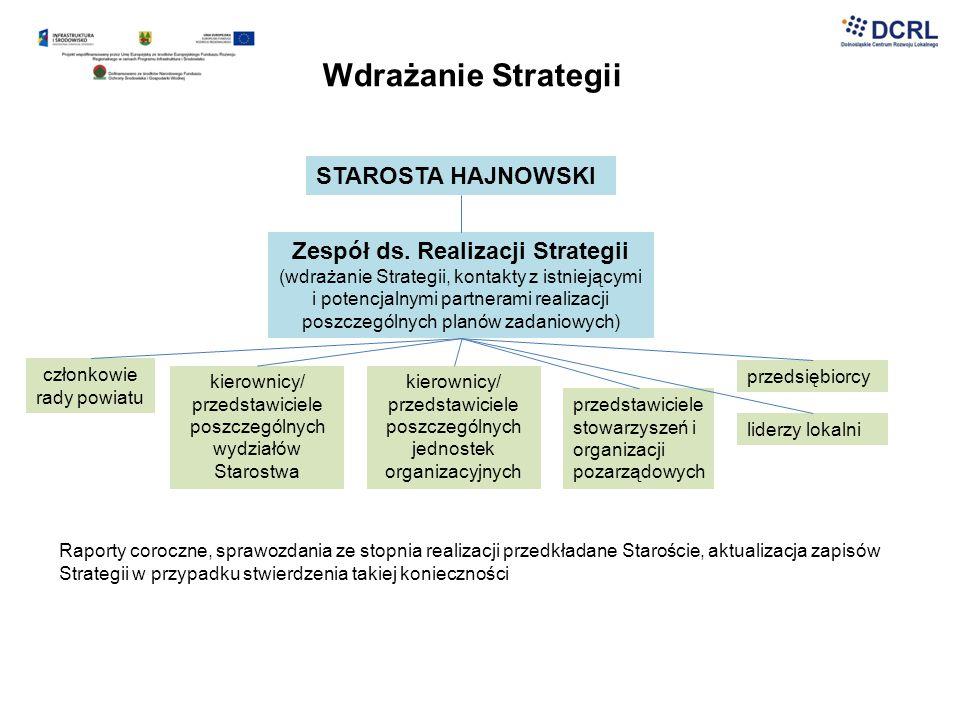 Wdrażanie Strategii STAROSTA HAJNOWSKI Zespół ds. Realizacji Strategii (wdrażanie Strategii, kontakty z istniejącymi i potencjalnymi partnerami realiz