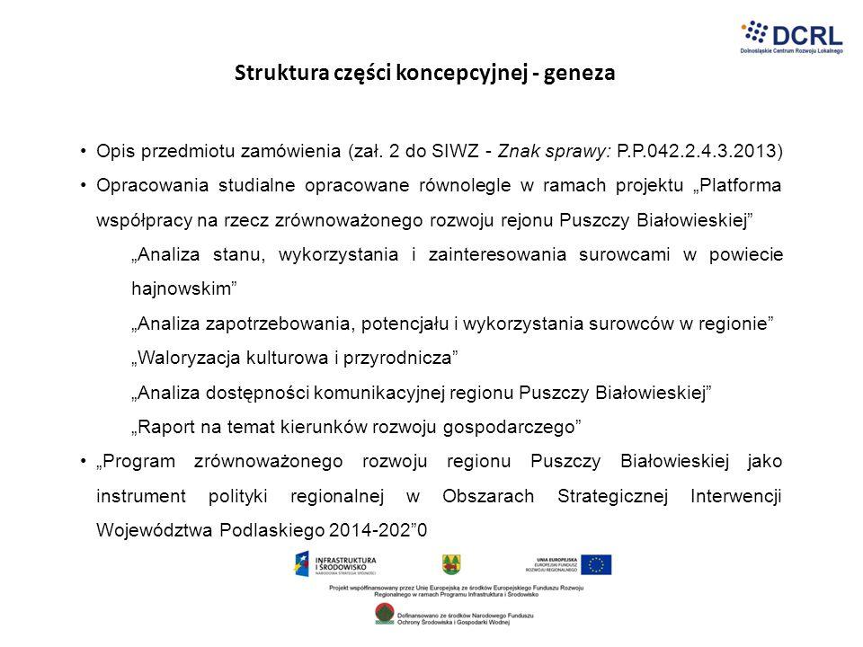 Struktura części koncepcyjnej - geneza Opis przedmiotu zamówienia (zał. 2 do SIWZ - Znak sprawy: P.P.042.2.4.3.2013) Opracowania studialne opracowane