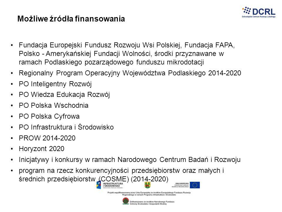 Możliwe źródła finansowania Fundacja Europejski Fundusz Rozwoju Wsi Polskiej, Fundacja FAPA, Polsko - Amerykańskiej Fundacji Wolności, środki przyznaw