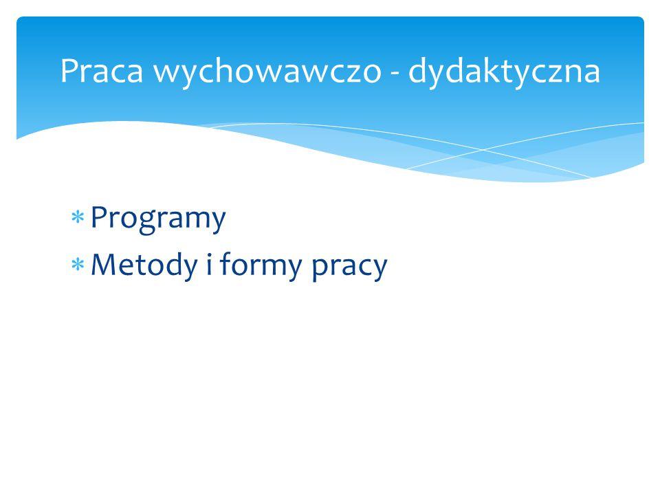  Programy  Metody i formy pracy Praca wychowawczo - dydaktyczna