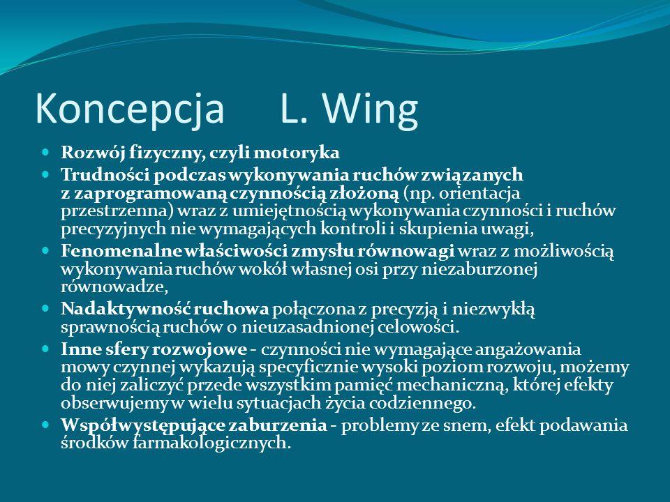Koncepcja L. Wing Komunikacja - brak zainteresowania komunikacją z innymi, zaburzenia mowy - echolalia, wypowiedzi stereotypowe, niedojrzałość struktu