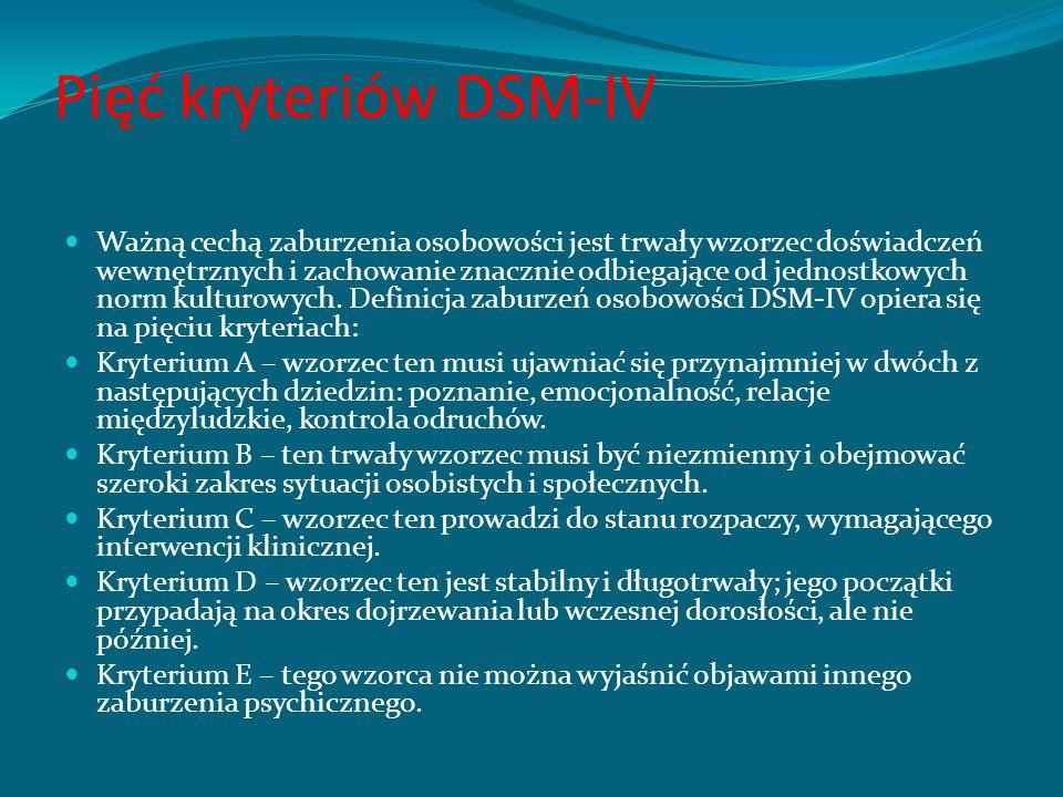 DSM-IV definiuje zaburzenia psychiczne jako zespoły objawów przejawiających się zachowaniami lub przeżyciami, którym towarzyszy: cierpienie, niesprawn
