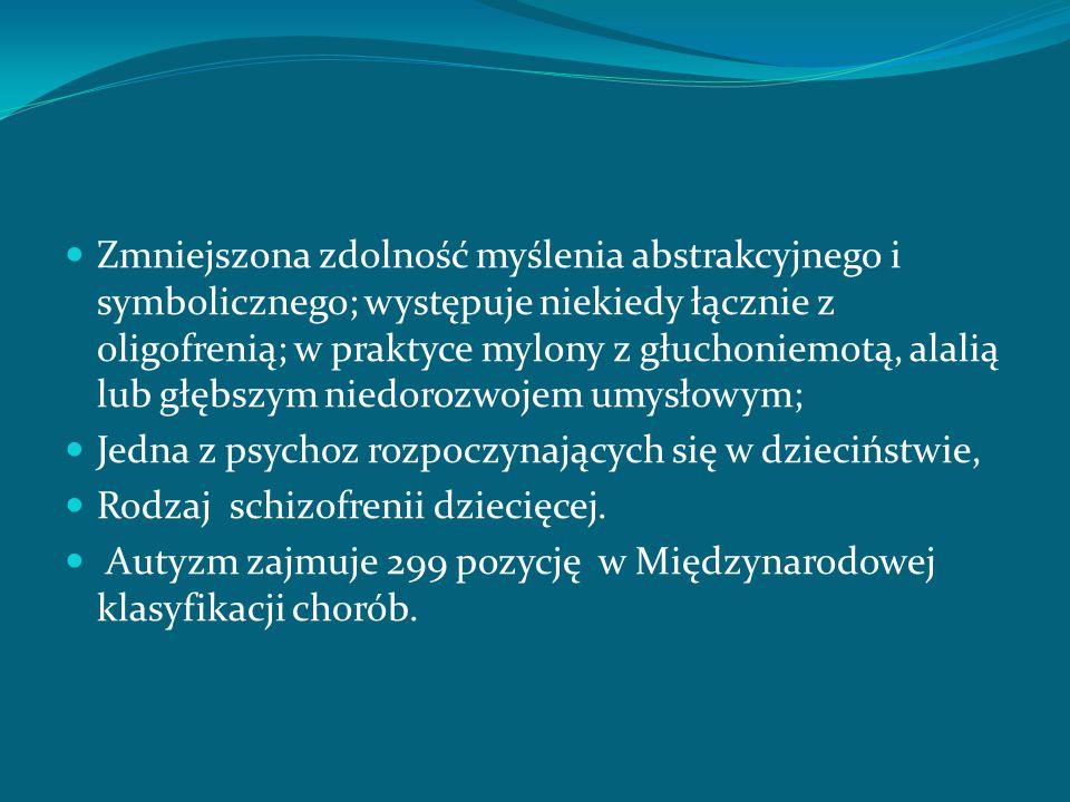 Echolalia Objaw autyzmu dziecięcego (psychoz dziecięcego ); Opóźnionego rozwoju mowy; Jednym z objawów echopraksji, występuje w katatonicznej schizofrenii, w oligofazji i w katatonii; Porozumiewanie się z chorymi z rozkojarzonym staje się trudne, a nawet niemożliwe, gdyż chory mówi jakby,,na wiatr'', w rozmowie naśladuje słowa rozmówcy, powtarzając na zasadzie echa, naśladuje jego ruchy (echopraksja) i mimikę (echomimika);