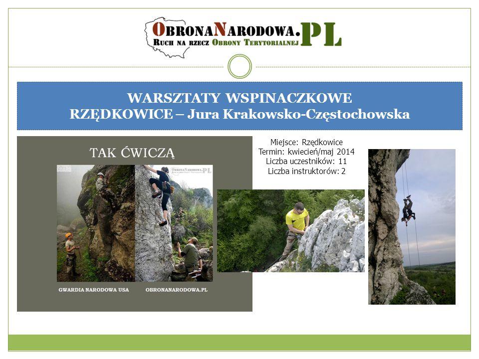 WARSZTATY WSPINACZKOWE RZĘDKOWICE – Jura Krakowsko-Częstochowska Miejsce: Rzędkowice Termin: kwiecień/maj 2014 Liczba uczestników: 11 Liczba instrukto