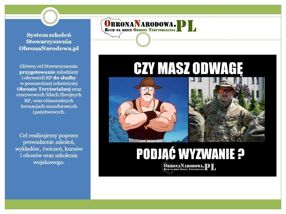 System szkoleń Stowarzyszenia ObronaNarodowa.pl Główny cel Stowarzyszenia: przygotowanie młodzieży i obywateli RP do służby w powszechnej ochotniczej