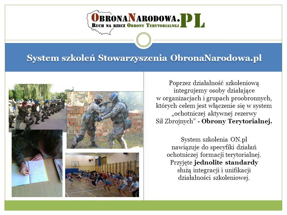 System szkoleń Stowarzyszenia ObronaNarodowa.pl Poprzez działalność szkoleniową integrujemy osoby działające w organizacjach i grupach proobronnych, k