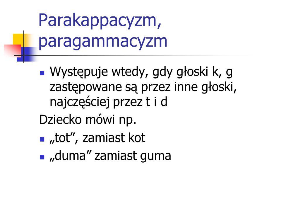 """Parakappacyzm, paragammacyzm Występuje wtedy, gdy głoski k, g zastępowane są przez inne głoski, najczęściej przez t i d Dziecko mówi np. """"tot"""", zamias"""