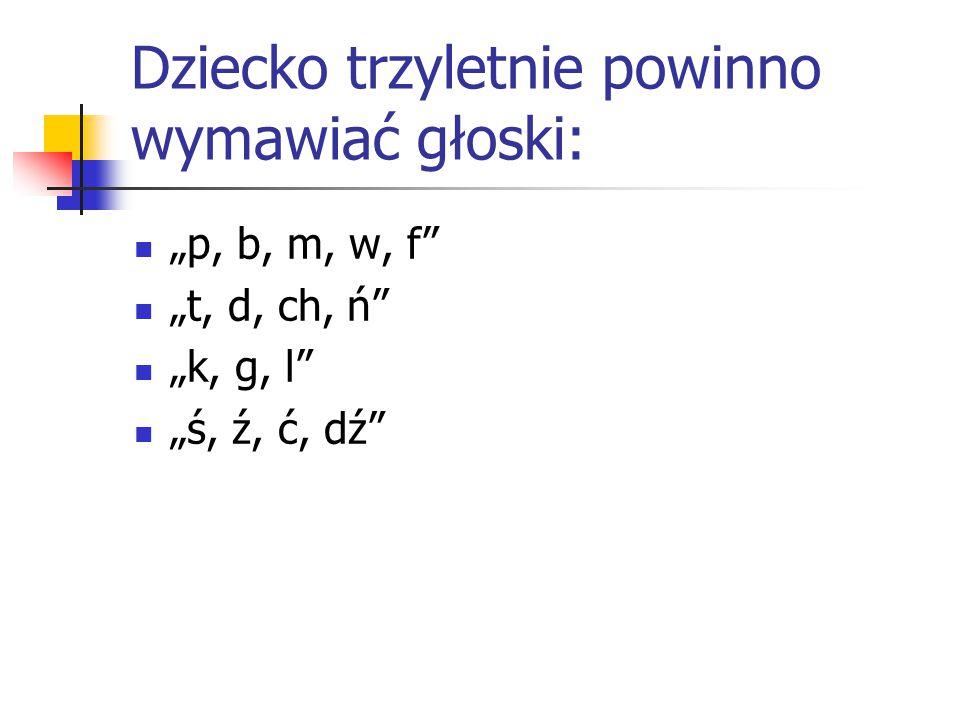 """Dziecko trzyletnie powinno wymawiać głoski: """"p, b, m, w, f"""" """"t, d, ch, ń"""" """"k, g, l"""" """"ś, ź, ć, dź"""""""