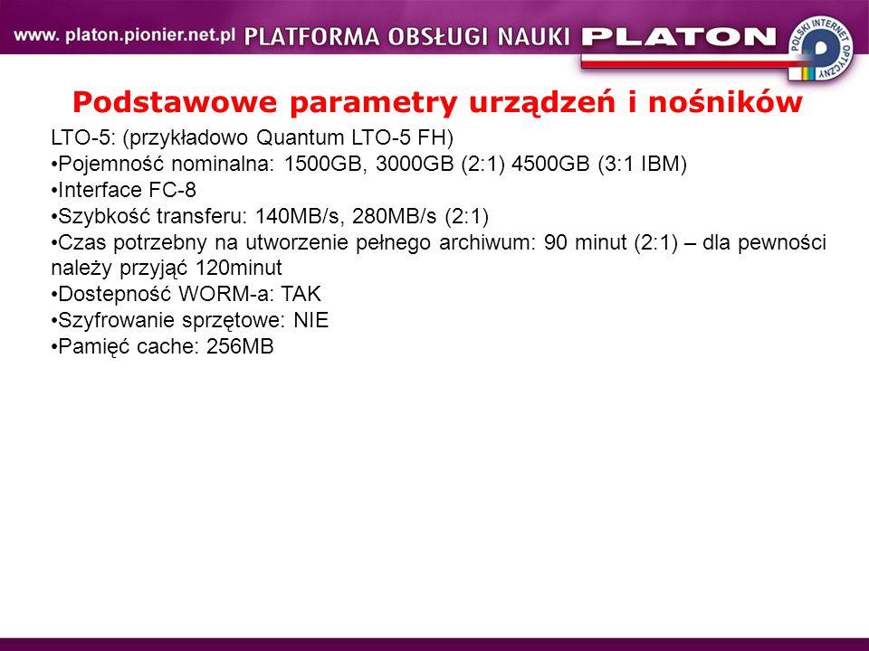 LTO-5: (przykładowo Quantum LTO-5 FH) Pojemność nominalna: 1500GB, 3000GB (2:1) 4500GB (3:1 IBM) Interface FC-8 Szybkość transferu: 140MB/s, 280MB/s (2:1) Czas potrzebny na utworzenie pełnego archiwum: 90 minut (2:1) – dla pewności należy przyjąć 120minut Dostepność WORM-a: TAK Szyfrowanie sprzętowe: NIE Pamięć cache: 256MB