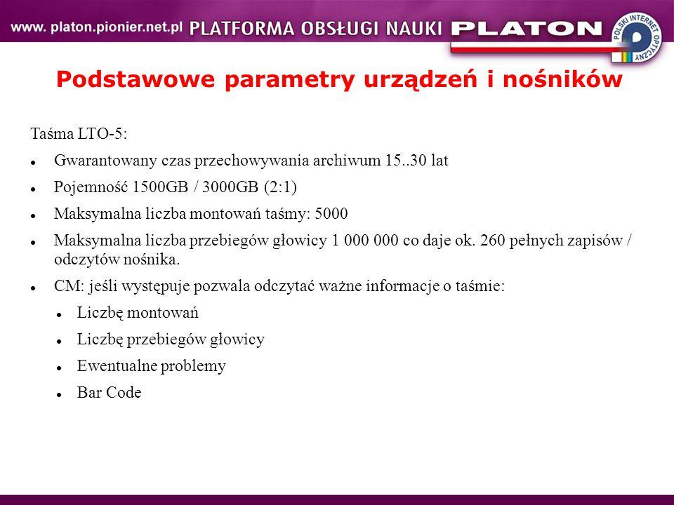 Podstawowe parametry urządzeń i nośników Taśma LTO-5: Gwarantowany czas przechowywania archiwum 15..30 lat Pojemność 1500GB / 3000GB (2:1) Maksymalna liczba montowań taśmy: 5000 Maksymalna liczba przebiegów głowicy 1 000 000 co daje ok.