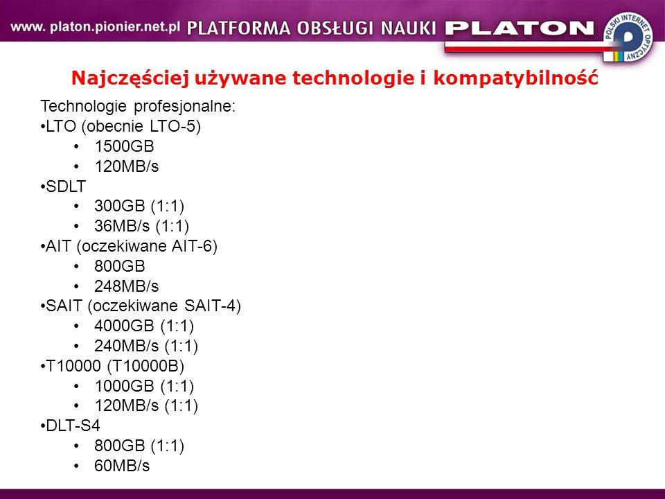 Najczęściej używane technologie i kompatybilność Technologie profesjonalne: LTO (obecnie LTO-5) 1500GB 120MB/s SDLT 300GB (1:1) 36MB/s (1:1) AIT (oczekiwane AIT-6) 800GB 248MB/s SAIT (oczekiwane SAIT-4) 4000GB (1:1) 240MB/s (1:1) T10000 (T10000B) 1000GB (1:1) 120MB/s (1:1) DLT-S4 800GB (1:1) 60MB/s