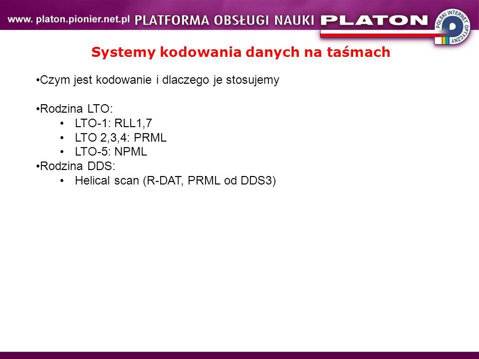 Systemy kodowania danych na taśmach Czym jest kodowanie i dlaczego je stosujemy Rodzina LTO: LTO-1: RLL1,7 LTO 2,3,4: PRML LTO-5: NPML Rodzina DDS: Helical scan (R-DAT, PRML od DDS3)