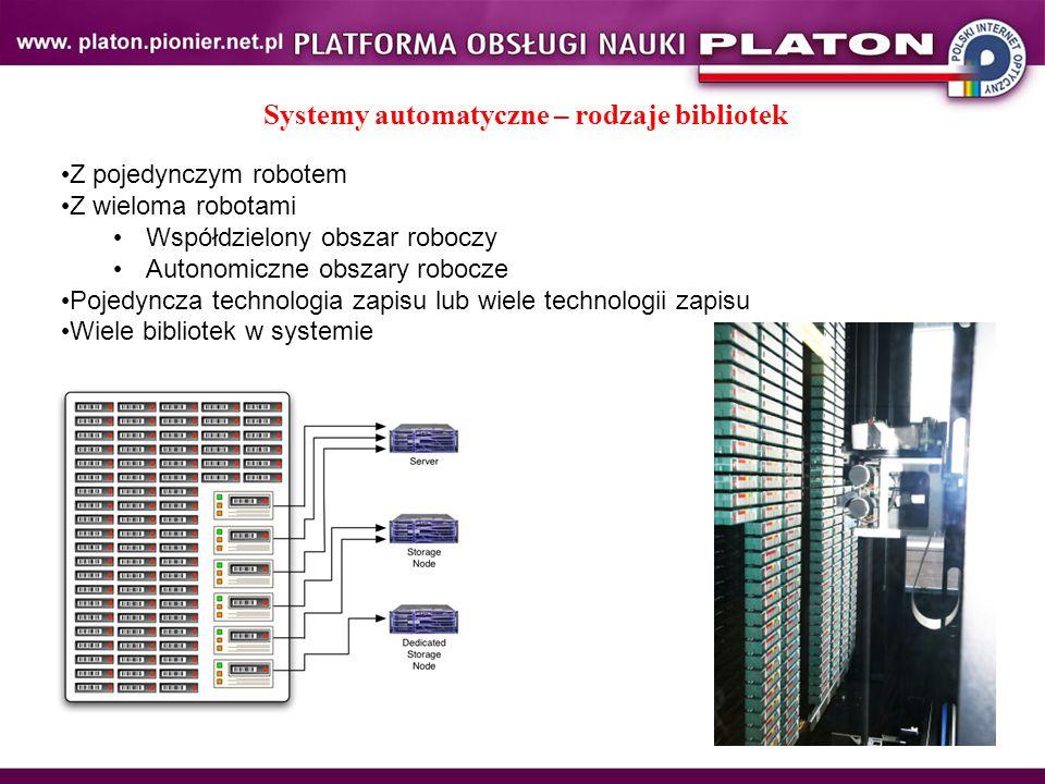Systemy automatyczne – rodzaje bibliotek Z pojedynczym robotem Z wieloma robotami Współdzielony obszar roboczy Autonomiczne obszary robocze Pojedyncza technologia zapisu lub wiele technologii zapisu Wiele bibliotek w systemie