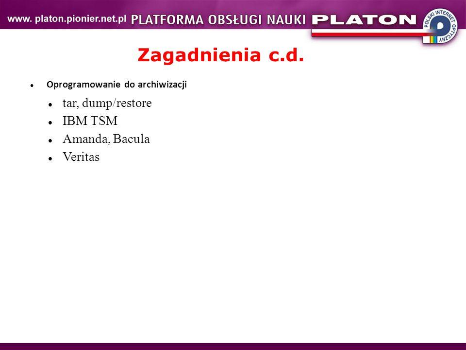 Zagadnienia c.d. Oprogramowanie do archiwizacji tar, dump/restore IBM TSM Amanda, Bacula Veritas