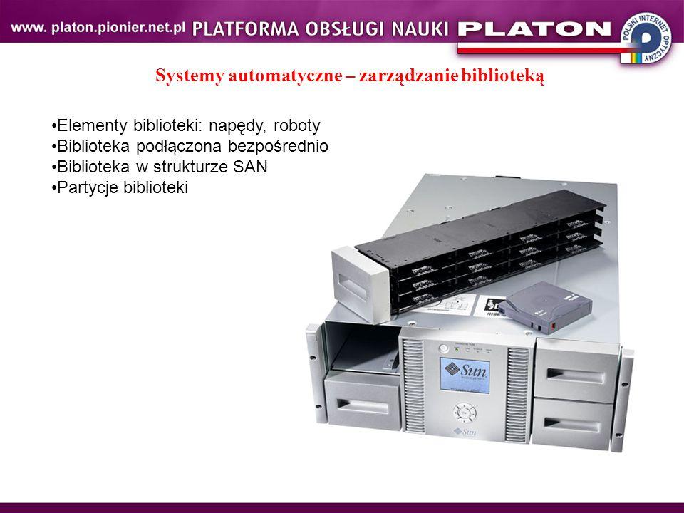 Systemy automatyczne – zarządzanie biblioteką Elementy biblioteki: napędy, roboty Biblioteka podłączona bezpośrednio Biblioteka w strukturze SAN Partycje biblioteki