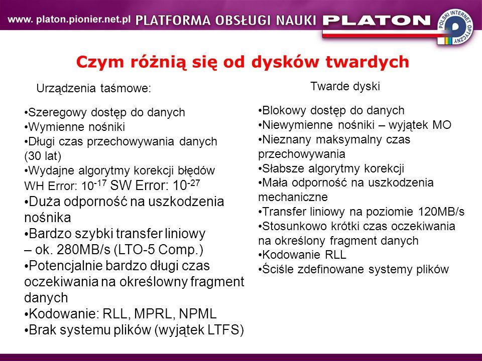 Technologia: LTO, SDLT, AIT, DDS (DAT) Pojemność nośnika: nominalna, z kompresją Interface: SCSI, FC, SAS Szybkość transferu: nominalna, z kompresją Całkowity czas potrzebny na utworzenie odczytanie pełnego archiwum Szyfrowanie sprzętowe WORM Gwarantowany czas przechowania danych Maksymalna liczba przebiegów głowicy Maksymalna liczba montowań nośnika Cartidge Memory (CM) Korekcja błędów HW Error, SW Error Pamięć cache Wsteczna kompatybilność Podstawowe parametry urządzeń i nośników