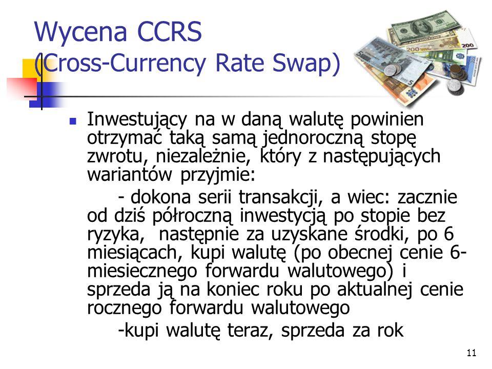 11 Wycena CCRS (Cross-Currency Rate Swap) Inwestujący na w daną walutę powinien otrzymać taką samą jednoroczną stopę zwrotu, niezależnie, który z nast