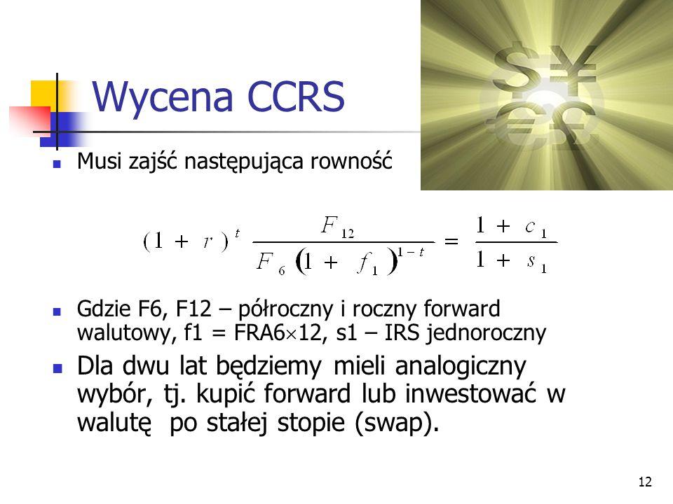 12 Wycena CCRS Musi zajść następująca rowność Gdzie F6, F12 – półroczny i roczny forward walutowy, f1 = FRA6  12, s1 – IRS jednoroczny Dla dwu lat bę