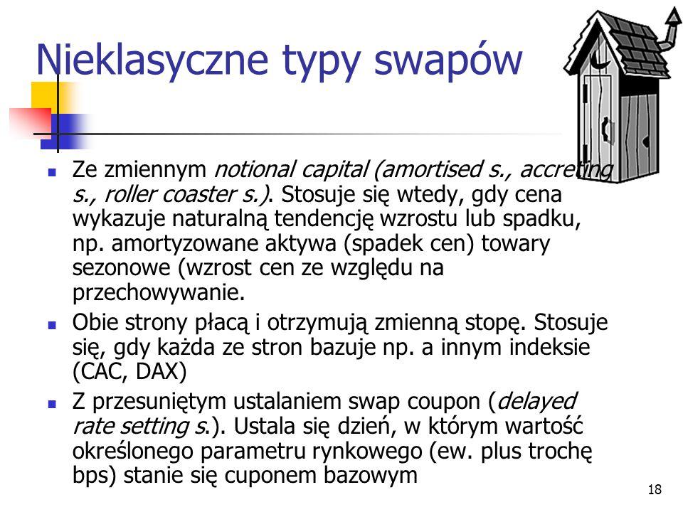 18 Nieklasyczne typy swapów Ze zmiennym notional capital (amortised s., accreting s., roller coaster s.). Stosuje się wtedy, gdy cena wykazuje natural