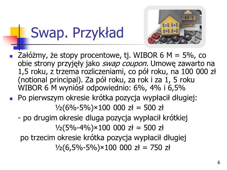 6 Swap. Przykład Załóżmy, że stopy procentowe, tj. WIBOR 6 M = 5%, co obie strony przyjęły jako swap coupon. Umowę zawarto na 1,5 roku, z trzema rozli