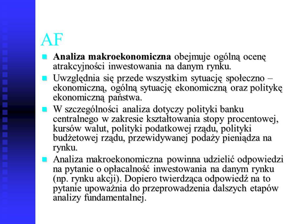 44 AF Analiza makroekonomiczna obejmuje ogólną ocenę atrakcyjności inwestowania na danym rynku. Analiza makroekonomiczna obejmuje ogólną ocenę atrakcy