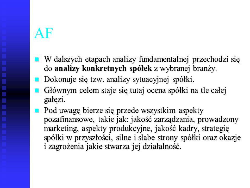 46 AF W dalszych etapach analizy fundamentalnej przechodzi się do analizy konkretnych spółek z wybranej branży. W dalszych etapach analizy fundamental