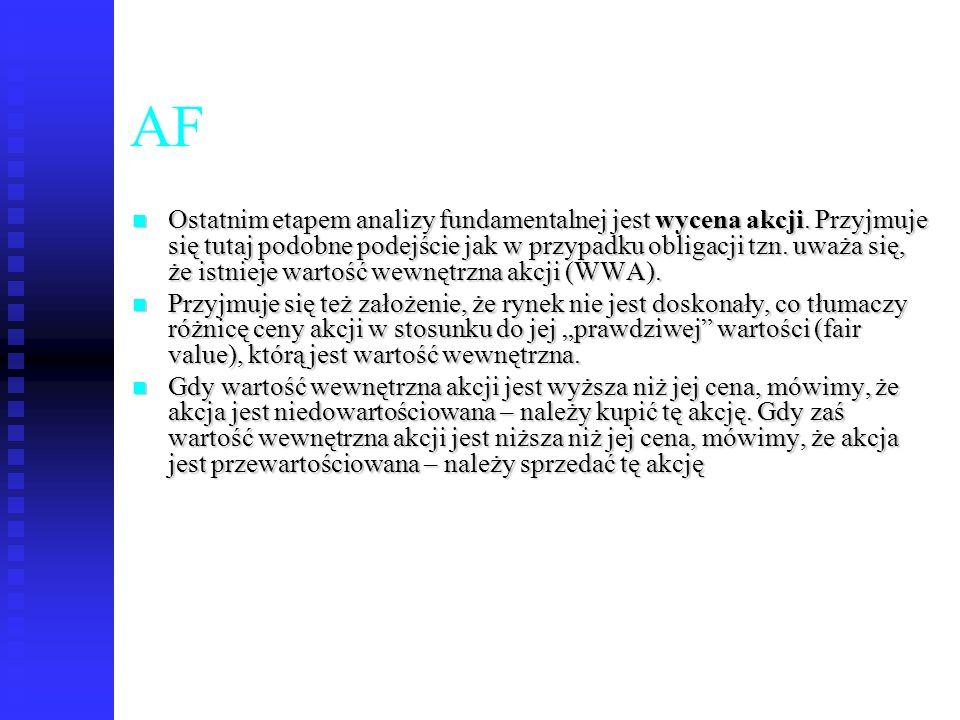 49 AF Ostatnim etapem analizy fundamentalnej jest wycena akcji. Przyjmuje się tutaj podobne podejście jak w przypadku obligacji tzn. uważa się, że ist
