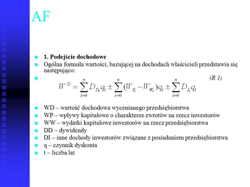 52 AF 1. Podejście dochodowe 1. Podejście dochodowe Ogólna formuła wartości, bazującej na dochodach właścicieli przedstawia się następująco: Ogólna fo