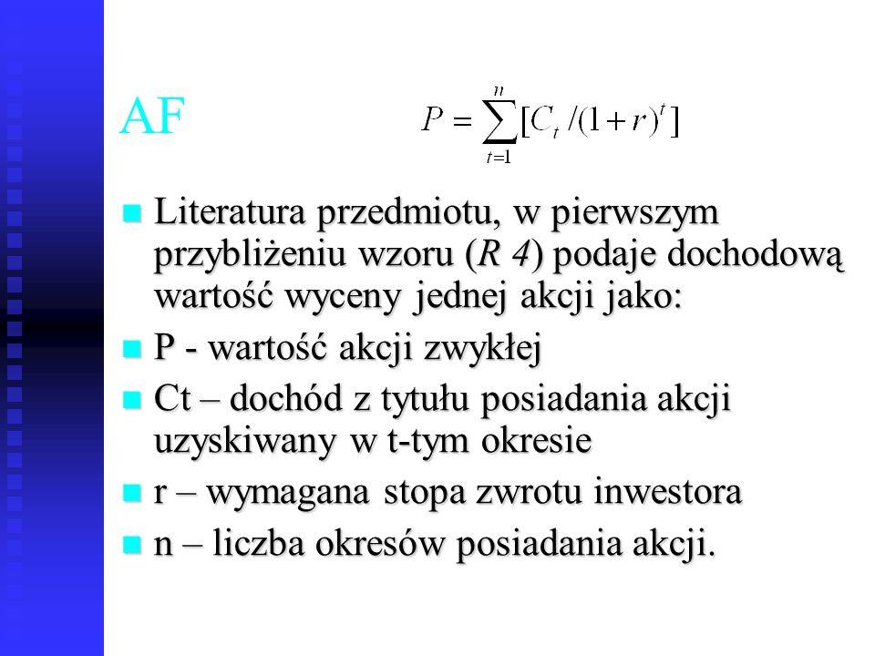 53 AF Literatura przedmiotu, w pierwszym przybliżeniu wzoru (R 4) podaje dochodową wartość wyceny jednej akcji jako: Literatura przedmiotu, w pierwszy