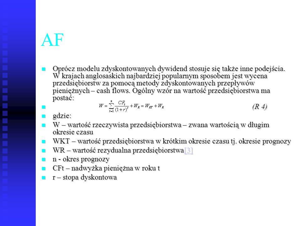 56 AF Oprócz modelu zdyskontowanych dywidend stosuje się także inne podejścia. W krajach anglosaskich najbardziej popularnym sposobem jest wycena prze