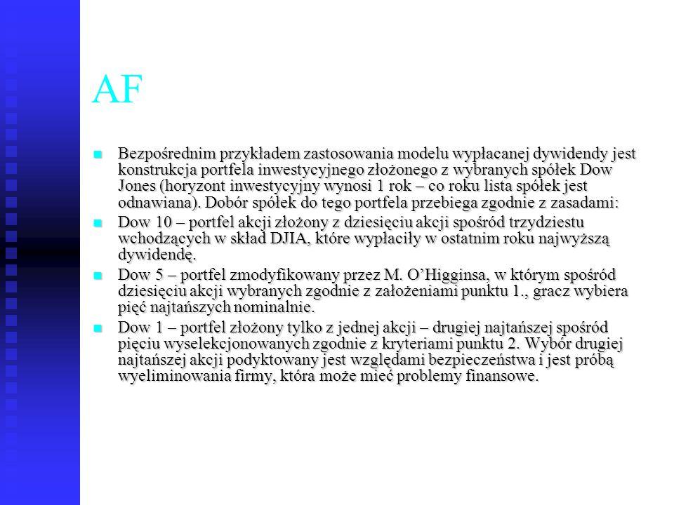 58 AF Bezpośrednim przykładem zastosowania modelu wypłacanej dywidendy jest konstrukcja portfela inwestycyjnego złożonego z wybranych spółek Dow Jones