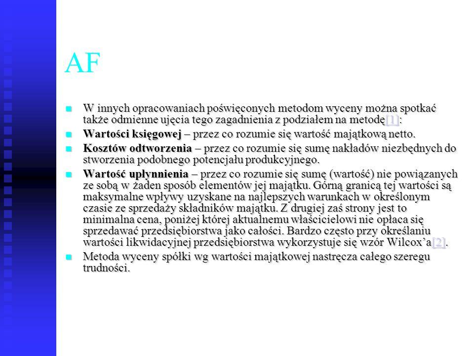 65 AF W innych opracowaniach poświęconych metodom wyceny można spotkać także odmienne ujęcia tego zagadnienia z podziałem na metodę[1]: W innych oprac