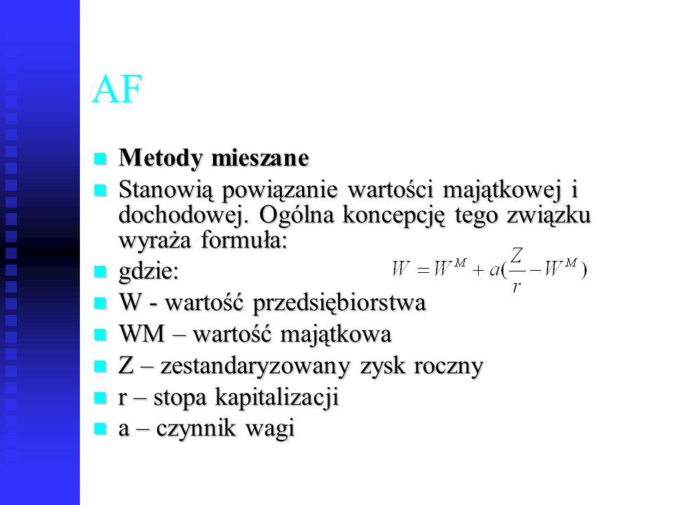 67 AF Metody mieszane Metody mieszane Stanowią powiązanie wartości majątkowej i dochodowej. Ogólna koncepcję tego związku wyraża formuła: Stanowią pow