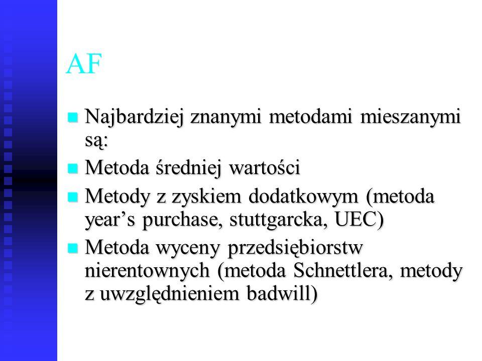 68 AF Najbardziej znanymi metodami mieszanymi są: Najbardziej znanymi metodami mieszanymi są: Metoda średniej wartości Metoda średniej wartości Metody