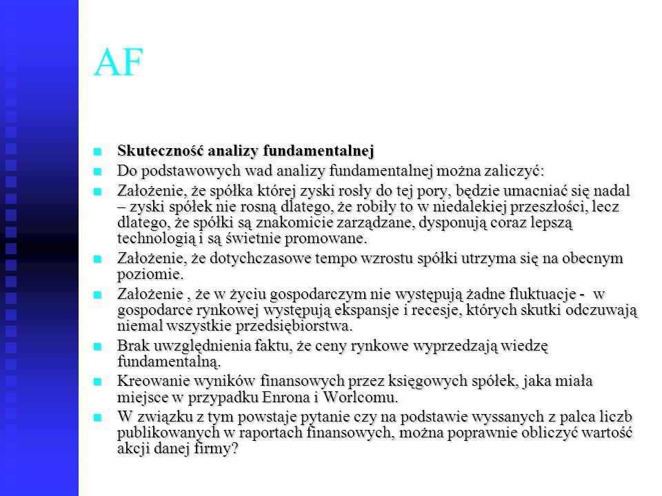 69 AF Skuteczność analizy fundamentalnej Skuteczność analizy fundamentalnej Do podstawowych wad analizy fundamentalnej można zaliczyć: Do podstawowych