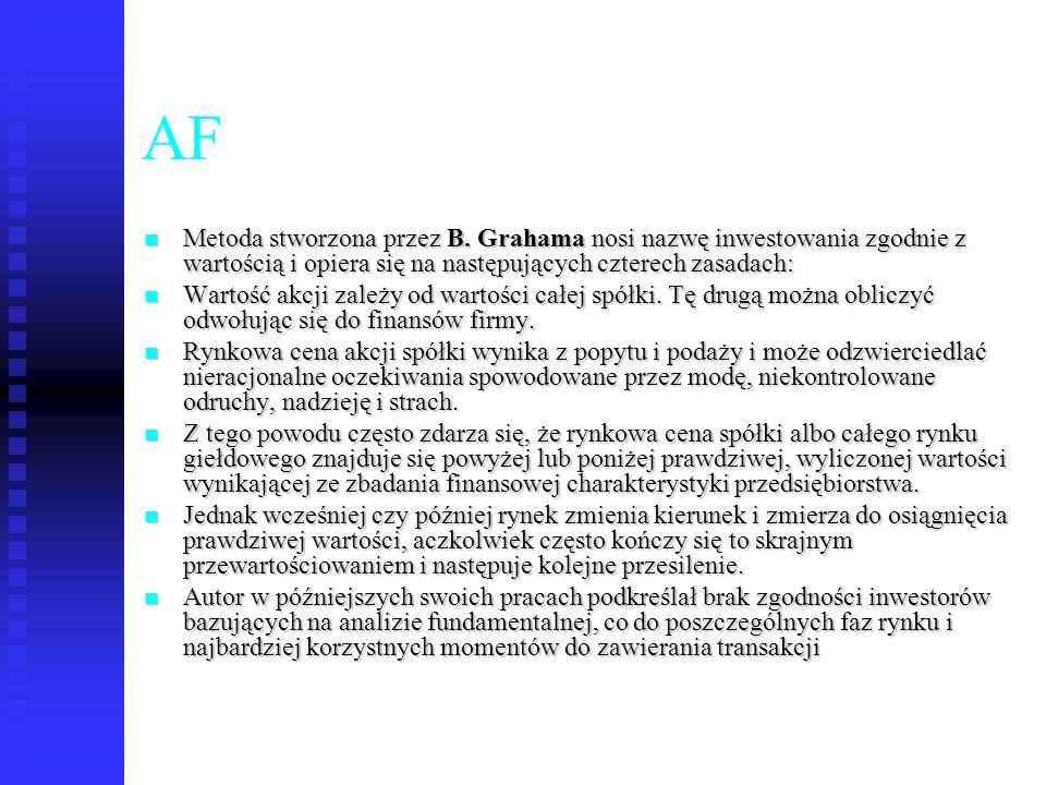 75 AF Metoda stworzona przez B. Grahama nosi nazwę inwestowania zgodnie z wartością i opiera się na następujących czterech zasadach: Metoda stworzona