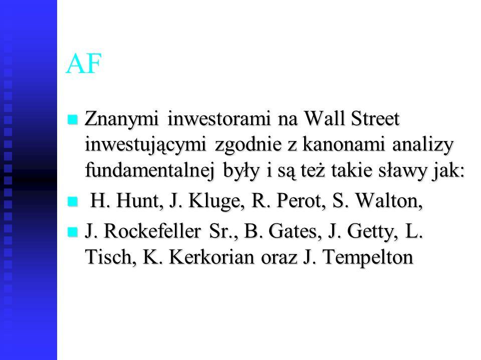 76 AF Znanymi inwestorami na Wall Street inwestującymi zgodnie z kanonami analizy fundamentalnej były i są też takie sławy jak: Znanymi inwestorami na