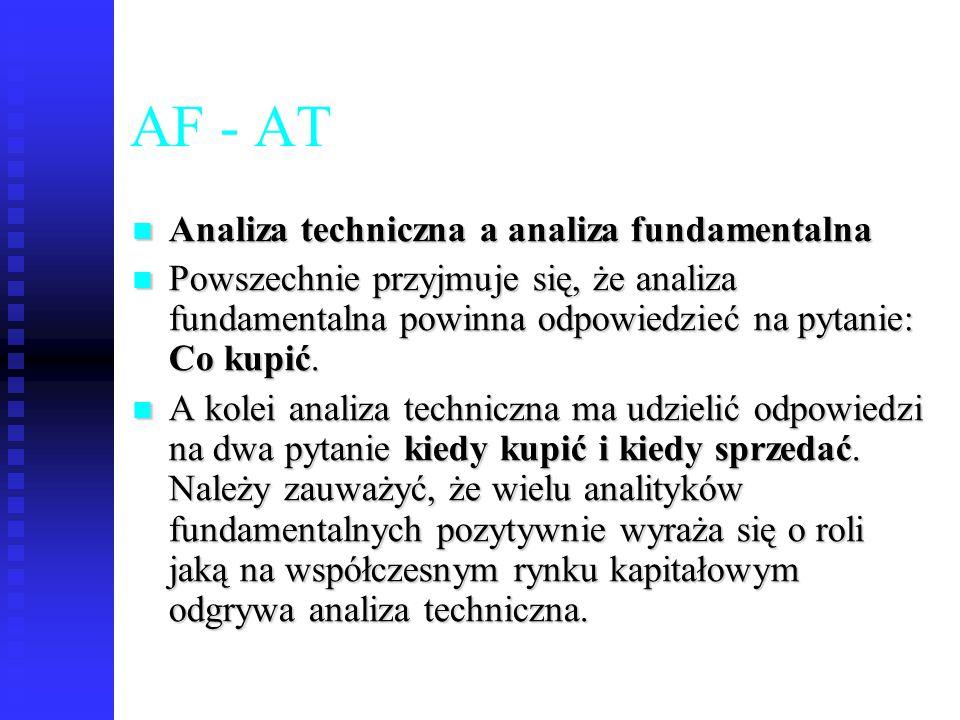 77 AF - AT Analiza techniczna a analiza fundamentalna Analiza techniczna a analiza fundamentalna Powszechnie przyjmuje się, że analiza fundamentalna p