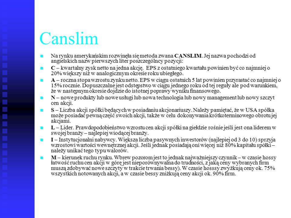82 Canslim Na rynku amerykańskim rozwinęła się metoda zwana CANSLIM. Jej nazwa pochodzi od angielskich nazw pierwszych liter poszczególncy pozycji: Na